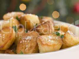 Dish of Roast Potatoes with Sea Salt and Lemon Thyme