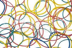 Studio Shot Of Multi Colored Rubber Bands