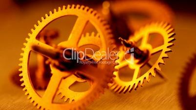 Gold gears old clockwork
