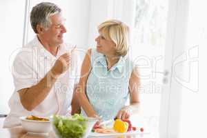 Husband And Wife Preparing meal,mealtime Together