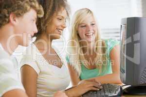 Teenage Girls Using Desktop Computer