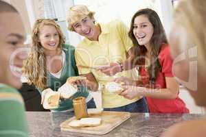 Teenagers Making Sandwiches