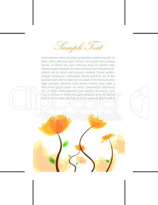 text template with floral background