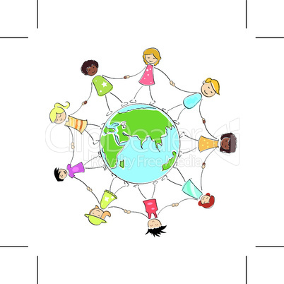 kids holding their hands around the globe