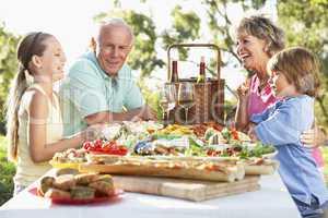 Großeltern mit ihren Enkeln beim Picknick