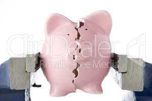 Broken piggy bank in vice