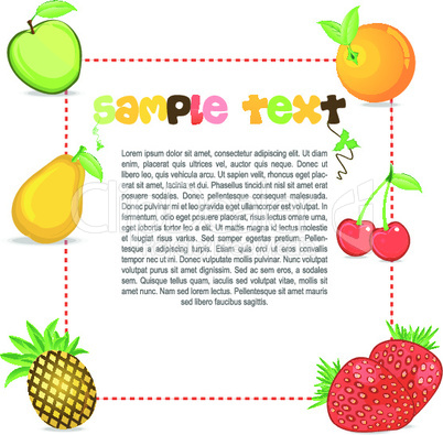text template with fruits