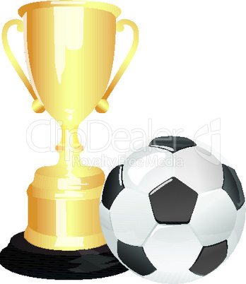 soccer ball and trophy