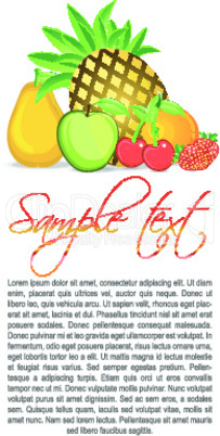 text template with different fruits