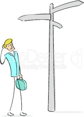 business man searches decision directions signs