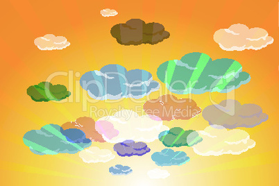 set of colorful clouds in summer sky