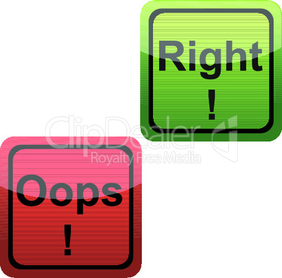 set of oops and right icons