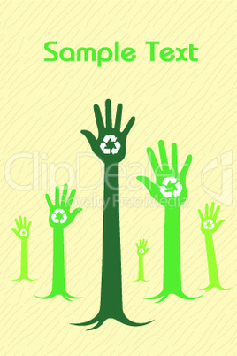 growing hand with recycle symbol