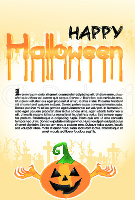 halloween pumpkin on text template