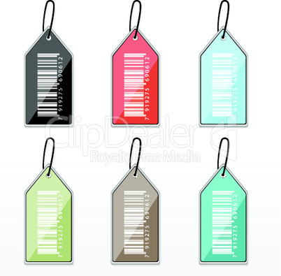 set of colorful barcode tags