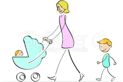 mother walking with her son and baby