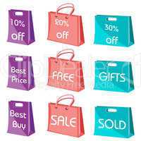 set of shopping bags with tags