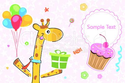 giraffe with gift/ birthday card