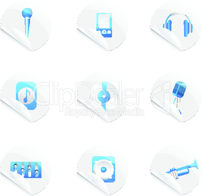 set of musicsl icons