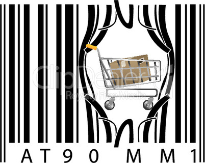 shopping cart coming out of barcode