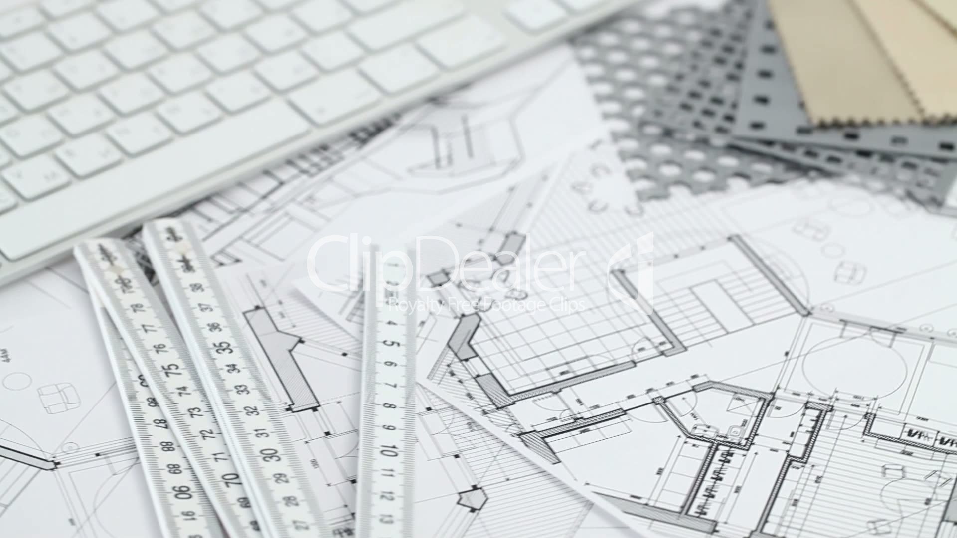 Video Footage Clip   Keyboard U0026 Architectural Plans