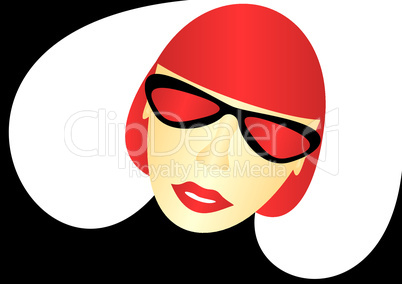 The girl in the red glasses.