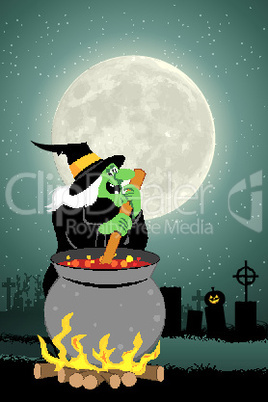 illustration of witch cooking in halloween night