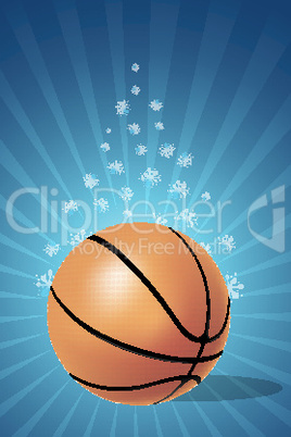 basketball on floral background