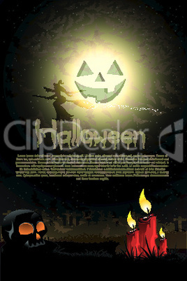 illustration of scary halloween night