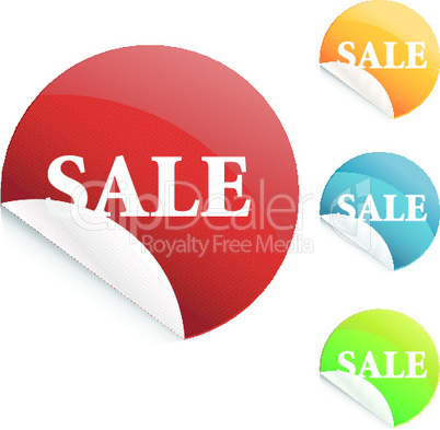set of glossy sale tag stickers