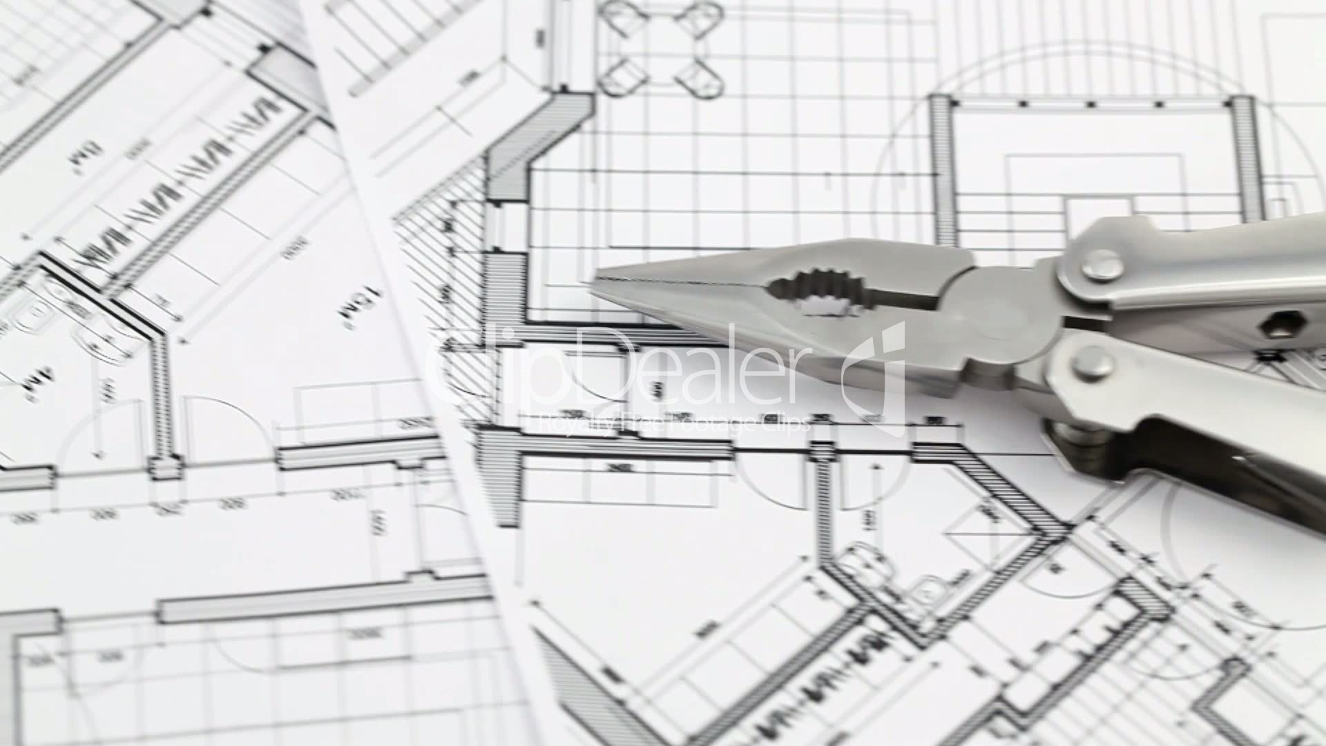 architectural engineering blueprints. Clips. Pliers And Architectural Blueprints Engineering