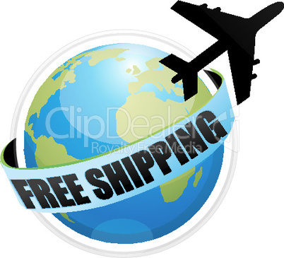 free shipping with aeroplane around the globe