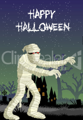 illustration of mummy in halloween night