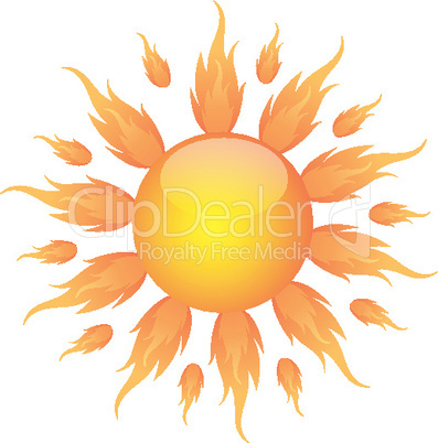 illustration of burning sun