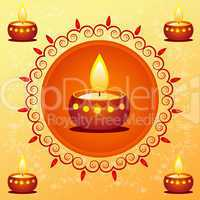 diwali card decorated with diya