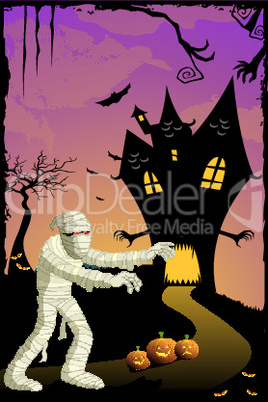 illustration of scary night