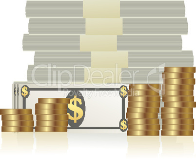 stack of currency notes and dollar coins