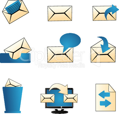 set of mailing icons