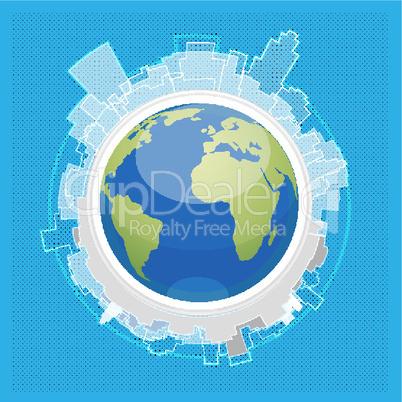 cityscape around globe