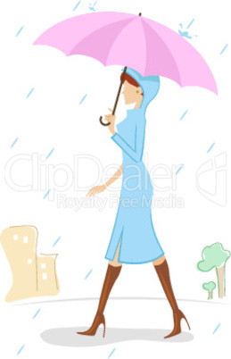 lady with umbrella in rainy day