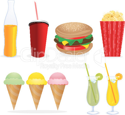 junk foods on isolated background