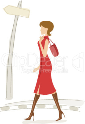 fashionable lady walking in street