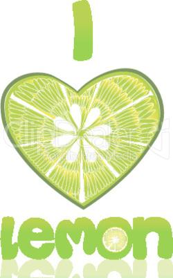 i love lemon on isolated background