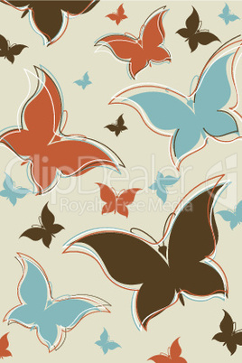 retro background with colorful butterflies