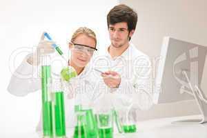 Genetic engineering - scientists in laboratory