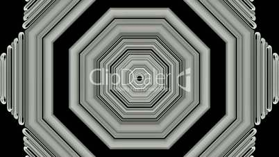 3d gray metal hexagon,computer tunnel interface.Sound,wave,frequency,spectrum,vibration,brain,radio,transmission,