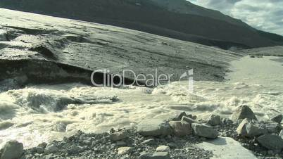 Athabasca glacier in the Rocky Mountains of Canada