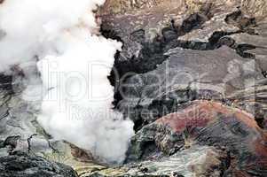Smoking creater volcano