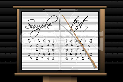 music board with sample text