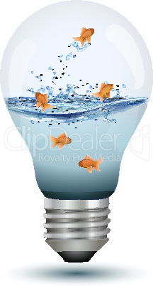 natural bulb with water and fishes